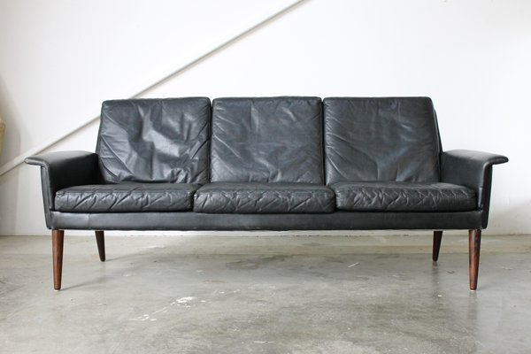 Danish Black Leather 3-Seater Sofa by H.W. Klein for Bramin, 1960s