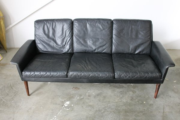 Danish Black Leather 3-Seater Sofa by H.W. Klein for Bramin, 1960s ...