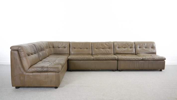 Large Vintage Modular Leather Sofa For