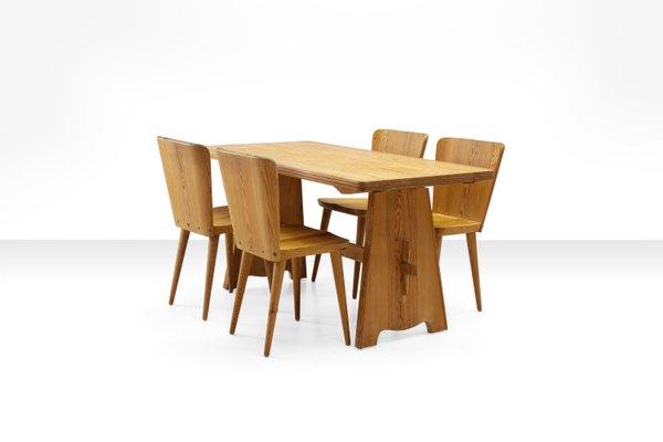 Juego de mesa de comedor y cuatro sillas de pino de Goran Malmvall para  Karl Andersson & Söner, años 50