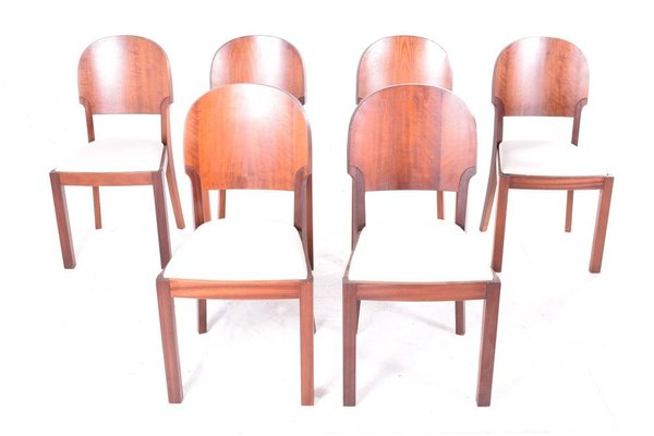 Art Deco Style Dining Chairs 1940s Set Of 6 For Sale At Pamono