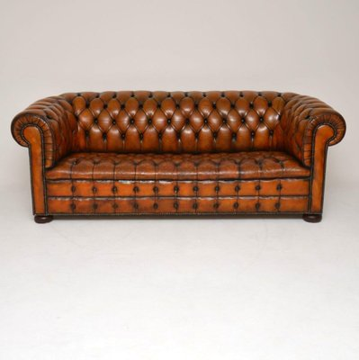 Deep Oned Leather Chesterfield Sofa