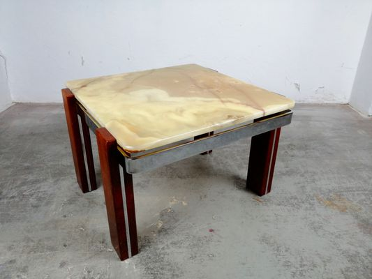 Alabaster, Chrome U0026 Wood Coffee Table, 1970s 1