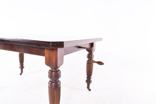 Antique English Hand-Crank Mahogany Dining Table