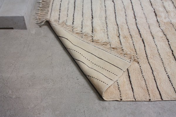 Miraculous Vintage Moroccan Beni Ourain Woollen Rug With Stripes Ocoug Best Dining Table And Chair Ideas Images Ocougorg
