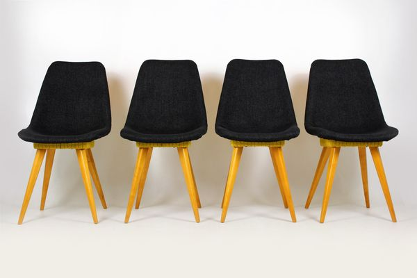 Mid Century Grey Yellow Chairs From Drevovyroba Ostrava 1960s Set Of 4