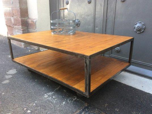 En Table Industrielle Et Bois Basse Vintage Métal wuTOkZlPXi