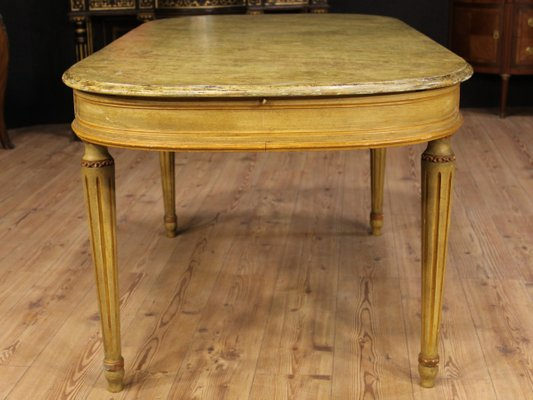 Antique Style Italian Lacquered Painted Dining Table 1960s