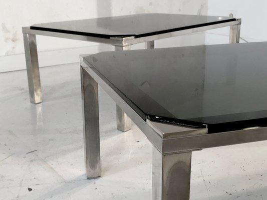 Tavolini Di Vetro Design.Tavolini In Metallo Argentato E Vetro Nero Di Maison Jansen Anni
