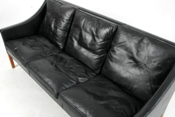 Black Leather 2209 3-Seater Sofa by Børge Mogensen for Fredericia, 1960s