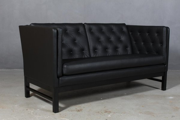 Black Leather 2-Seater Sofa by Erik Jørgensen, 1960s