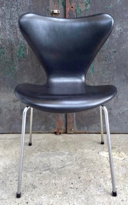 Fine Model 3107 Black Leather Chair By Arne Jacobsen For Fritz Hansen 1960S Pabps2019 Chair Design Images Pabps2019Com