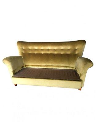 Swedish Golden Velvet Sofa, 1940s