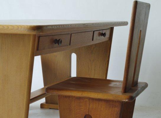 Oak Double Sided Desk By Bas Van Pelt For EMS Overschie, 1930s