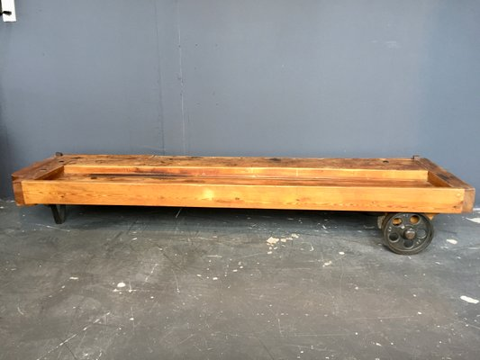 Vintage Workbench Coffee Table On Wheels From Eta For Sale At Pamono