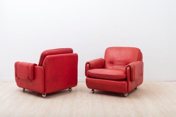 Fauteuils Lombardia Vintage En Cuir Rouge De Risto Holme Par Ikea 1970s Set De 2 En Vente Sur Pamono