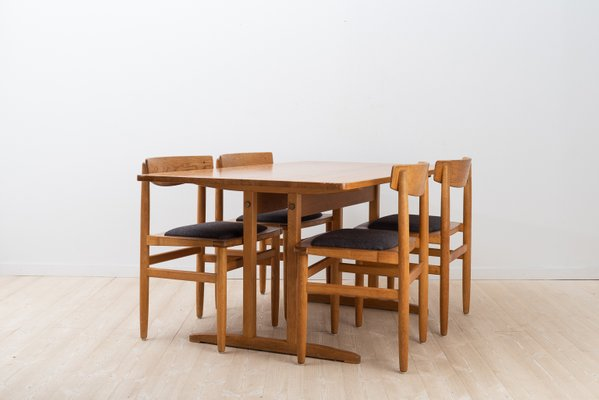 Oak Shaker Style Dining Chairs Table Set By Borje Mogensen For