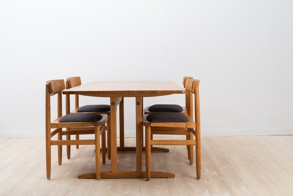 Oak Shaker Style Dining Chairs Table Set By Börje Mogensen For Karl Andersson Söner 1950s