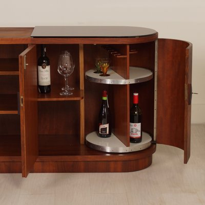 Art Deco Sideboard With Carousel Bar Cabinet 1930s