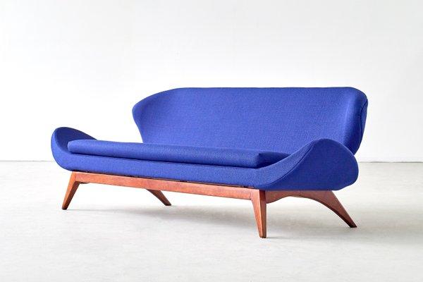 Walnut & Blue Fabric Sofa by Luigi Tiengo for Cimon Montréal, 1963