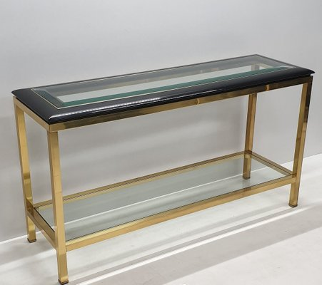 Fine Vintage Brass 2 Tier Console Table With Black Lucite Glass Top 1970S Ibusinesslaw Wood Chair Design Ideas Ibusinesslaworg
