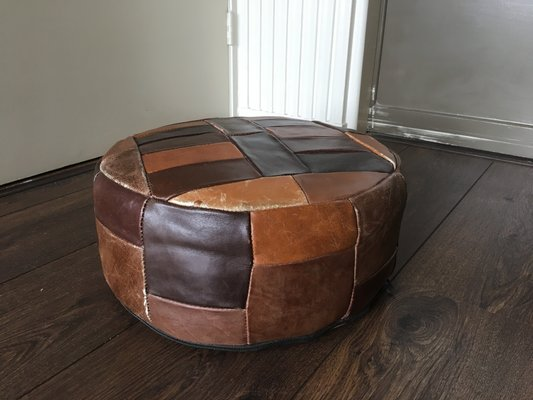 promo code 55cec f3ed9 Vintage Leather Mini Pouf or Side Table