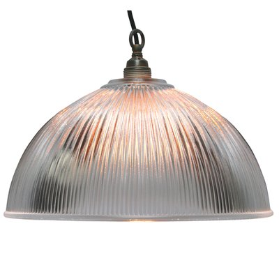 Glass Shade Industrial Hanging Light 1950s