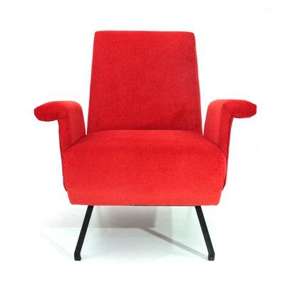 Fantastic Mid Century Italian Red Velvet Armchair 1950S Set Of 2 Theyellowbook Wood Chair Design Ideas Theyellowbookinfo