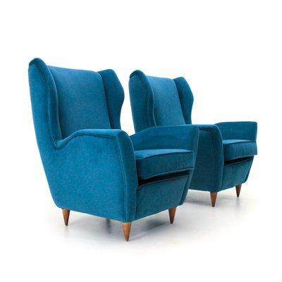 Mid Century Italian Blue Velvet Armchair, 1950s, Set Of 2
