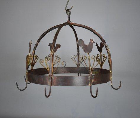 Colgador de ollas francés Mid Century de hierro forjado en