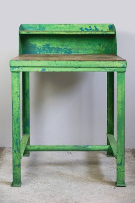 Vintage Industrial Lime Green Work Table, 1950s 1