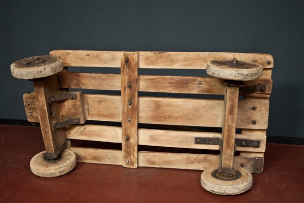 Vintage Rustic Coffee Table With Wheels 1930s For Sale At Pamono