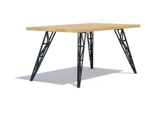 Superb Medium Dining Table With Oak Tabletop Lasered Steel Legs By Aljoscha Vogt For Gustav Moblierungen Caraccident5 Cool Chair Designs And Ideas Caraccident5Info