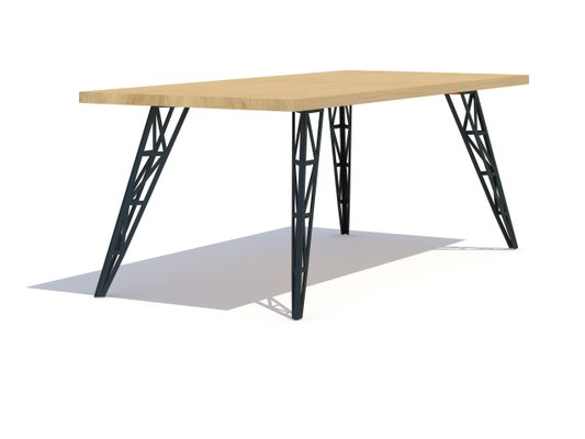 Large Dining Table With Oak Tabletop Lasered Steel Legs By Aljoscha Vogt For Gustav Möblierungen