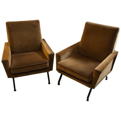 Mid Century Modern Italian Brown Velvet Armchairs Set Of 2 For Sale