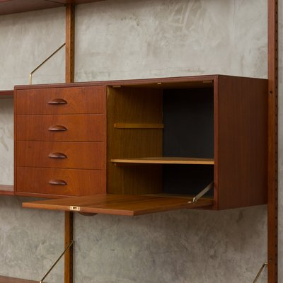 Astounding Vintage Teak Wall Unit Desk By Hansen Guldborg Home Interior And Landscaping Spoatsignezvosmurscom