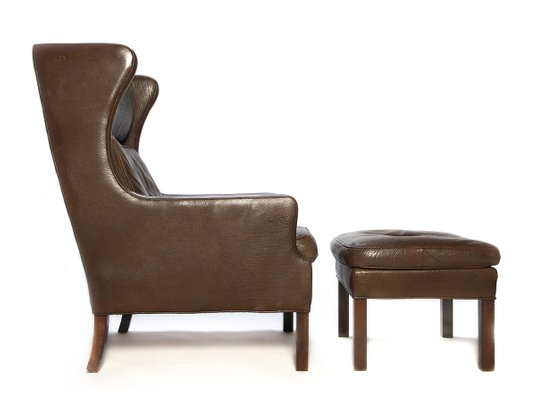 Admirable Vintage Brown Leather Lounge Chair And Ottoman Set 1970S Ncnpc Chair Design For Home Ncnpcorg