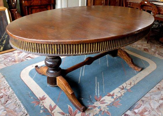 Tavolo da pranzo antico in pioppo, Italia in vendita su Pamono