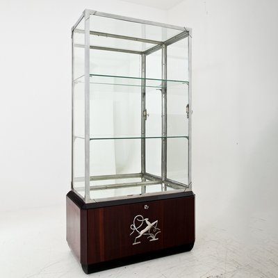 Art Deco Glass Display Cabinet 1930s, Glass Display Cabinet Singapore