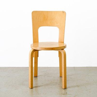 Sedia nr. 66 vintage in legno di Alvar Aalto per Artek