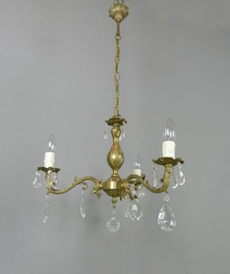 French Chandelier Matching Wall Sconce Set 1950s