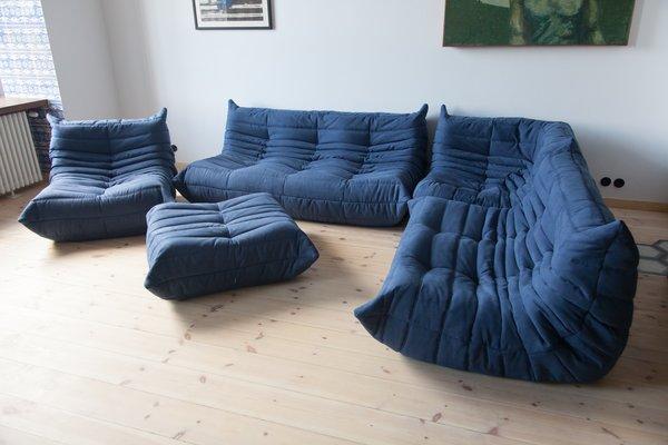Navy Blue Microfibre Togo Living Room Set By Michel Ducaroy For Ligne Roset 1970s