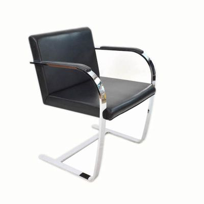 Leather Chrome Plated Steel Chairs By Mies Van Der Rohe 1930s