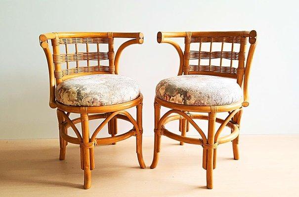 Table Vintage En Chaises Bambou Avec 2 iXZOPku