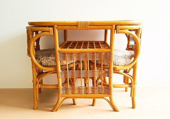2 Table Chaises Vintage Avec En Bambou tCrsdxhQ