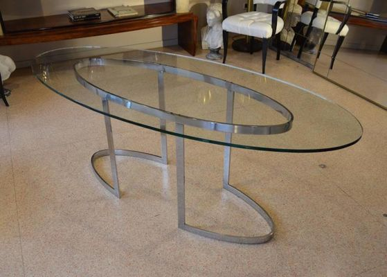 Tavolo Cristallo Design Anni 70.Tavolo In Acciaio Cromato E Cristallo Di Saporiti Anni 70