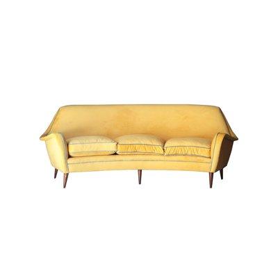 Mid-Century Modern Yellow & Blue Velvet Curved Sofa, 1950s