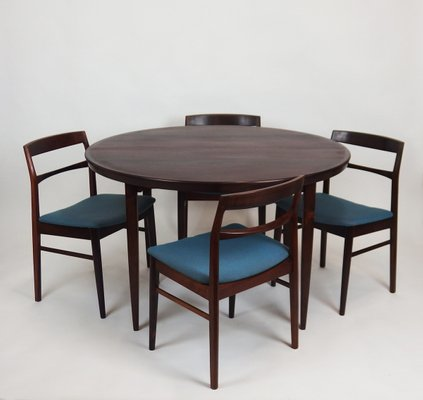 Superieur Vintage Scandinavian Rosewood Dining Table Set With 5 Chairs 1