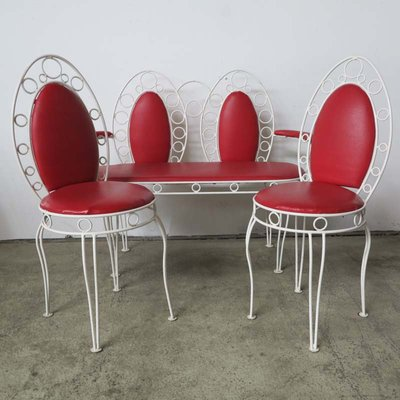 Terrific Vintage Metal Bench Set With Two Chairs Andrewgaddart Wooden Chair Designs For Living Room Andrewgaddartcom