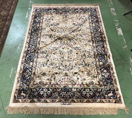 Tappeto vintage fatto a mano in lana e seta in vendita su Pamono